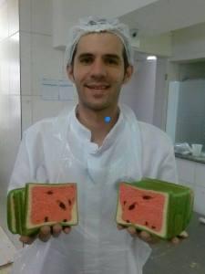 pão de forma melancia